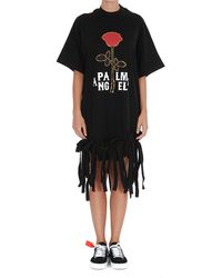 Palm Angels Rose Print Fringed T-shirt Dress - Black