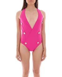 Balmain Double Breasted One-piece Swimsuit - Pink