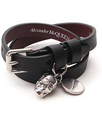 Alexander McQueen Double Wrap Skull Charm Bracelet - Black