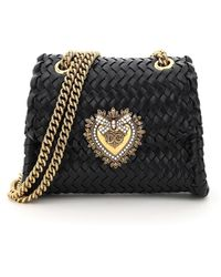 Dolce & Gabbana Dolce & Gabbana Devotion Chevron Woven Bag - Black