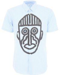 Comme des Garçons Mask Graphic Gingham Short Sleeved Shirt Blue