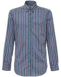 Etro Logo Embroidered Striped Shirt - Blue
