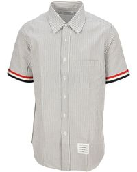 Thom Browne Striped Short-sleeve Shirt - Grey