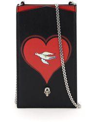Alexander McQueen Skull Heart Phone Pouch - Black