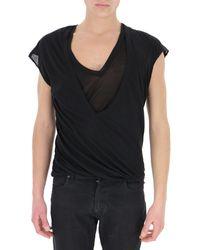 Rick Owens Layered Short Sleeves T-shirt - Black