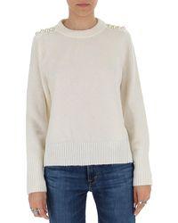 3.1 Phillip Lim Embellished Shoulder Knitted Jumper - White