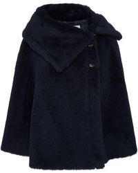Max Mara Fiacre Faux Fur Cape Coat - Blue