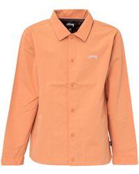 Stussy Logo Embroidered Coach Jacket - Orange