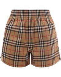 Burberry Side Stripe Vintage Check Shorts - Natural