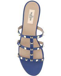 Valentino Garavani Rockstud Flat Slide Sandals - Blue