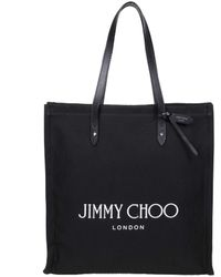 Jimmy Choo Shopping Bag In Natural Canvas With Leather Handles - Black