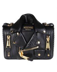 Moschino Biker Jacket Shoulder Bag - Black