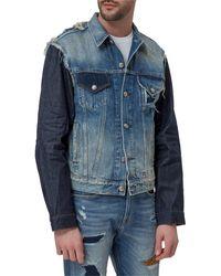 R13 Contrast Denim Button-up Jacket - Blue