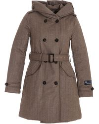 Woolrich Double-breasted Hooded Trench Coat - Brown