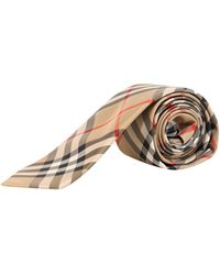 Burberry Modern Cut Vintage Check Silk Tie - Natural