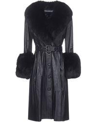 Saks Potts Fur-trim Belted Coat - Black