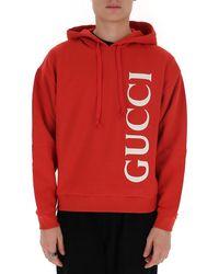 Gucci Logo Printed Hoodie - Red