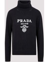 Prada Logo Intarsia Turtleneck Sweater - Black
