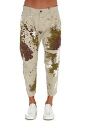 DSquared² Paint Detailed Cropped Trousers - Natural
