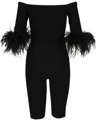 Saint Laurent Feather Detail Off Shoulder Jumpsuit - Black
