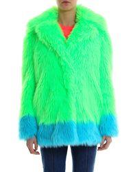 Alberta Ferretti Contrasting Faux Fur Jacket - Green
