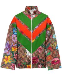 Gucci Floral Zip-up Jacket In Brown - Green