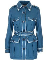Fendi Belted Wool-gabardine Jacket - Blue