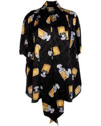 Balenciaga Pussybow Printed Short-sleeve Blouse - Black