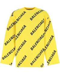 Balenciaga Embroidered Stretch Cotton Blend Jumper Nd Uomo - Yellow