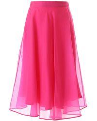 MSGM Midi Skirt 38 Silk - Pink