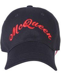 Alexander McQueen Logo Embroidered Cotton Cap - Black