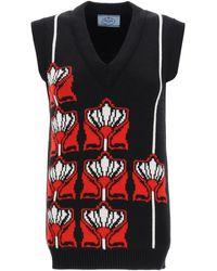 Prada Floral Jacquard Knitted Vest - Black