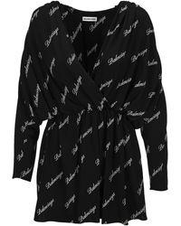 Balenciaga Allover Logo Mini Dress - Black
