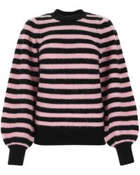 Ganni Striped Puff-sleeve Sweater - Multicolor