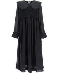 Ganni Long Chiffon Dress - Black