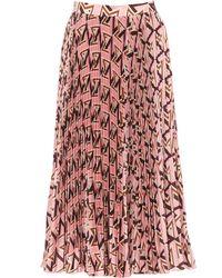 MSGM Geometric Motif Pleated Skirt - Pink