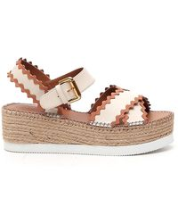 See By Chloé Platform Ankle Strap Sandals - Natural