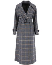 Weekend by Maxmara Plaid Trench Coat - Blue