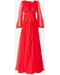 Alexander McQueen Draped Maxi Dress - Red