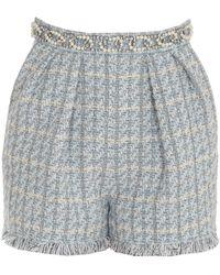 Elisabetta Franchi Check Motif Tweed Shorts - Blue