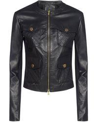 Pinko Quilted Leather Biker Jacket - Black