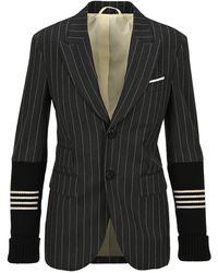 Neil Barrett Contrast Sleeve Pinstripe Blazer - Grey