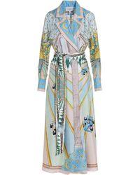 CASABLANCA Tie-waist Printed Midi Dress - Blue