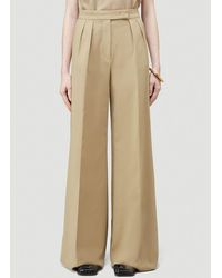 Max Mara Wide Leg Pleated Trousers - Natural