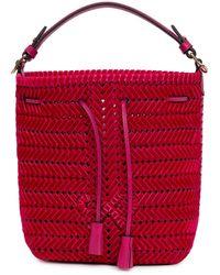 Anya Hindmarch Weave Drawstring Bucket Bag - Pink