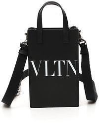 Valentino Vltn Printed Mini Tote Bag - Black