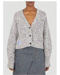 McQ Chunky Knitted Cropped Cardigan - Grey