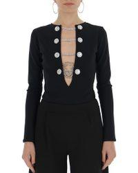 Alessandra Rich Embellished Stretch Bodysuit - Black