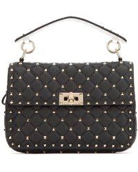 Valentino Medium Spike Leather Shoulder Bag - Black