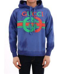 dfa45fda81b Lyst - Gucci Logo-print Loopback Cotton-jersey Hoodie in Black for ...